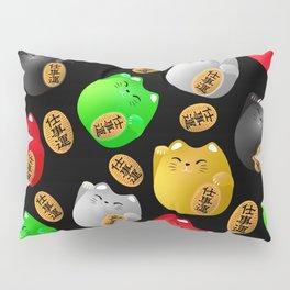 Fun Colorful Maneki-neko cats pattern on black Pillow Sham