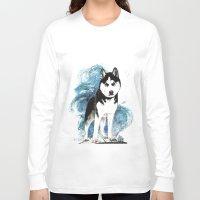 husky Long Sleeve T-shirts featuring Siberian Husky by Cami Landia