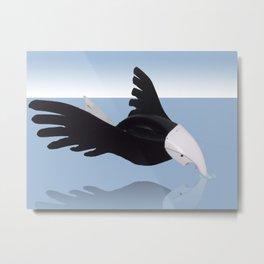 Osprey touching his mirror image Metal Print