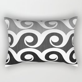 Black and White Waves Rectangular Pillow
