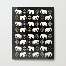 Elephant modern pattern print black gold glitter minimal with tribal influence gender neutral Metal Print