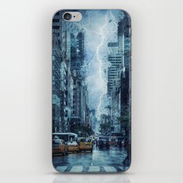 Cityscape Downtown Scene with Lightning and Rain iPhone Skin