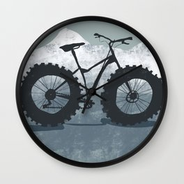 Fat bike in the mountains Wall Clock