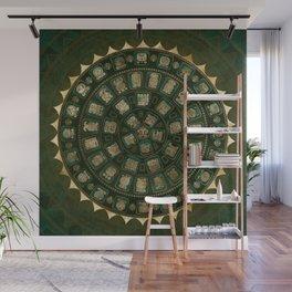 Maya Calendar Glyphs Gold and Malachite Wall Mural