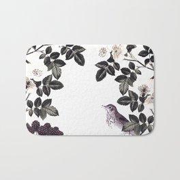 Blackberry Spring Garden - Birds Bees and Flowers Bath Mat