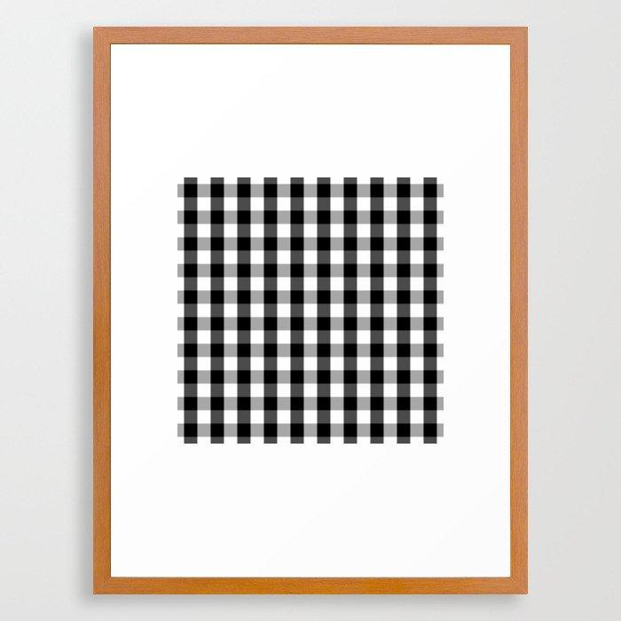Large Black White Gingham Checked Square Pattern Framed Art Print By