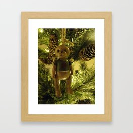 Teddy and Pinecones Framed Art Print