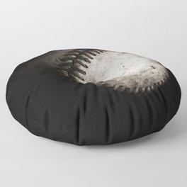 Battered Baseball in Black and White Floor Pillow