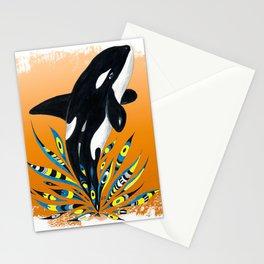 Cute Orca Whale Orange Doodle Splash Stationery Cards
