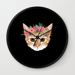 Orange Tabby cat breed with floral crown cute cat gifts cat lady must haves Wall Clock
