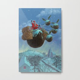 christmas pudding santa ride Metal Print