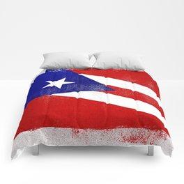 Puerto Rican Distressed Halftone Denim Flag Comforters