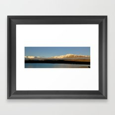 Low Clouds over Mountains and Lake Framed Art Print