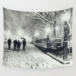 New York City Snow Bryant Park Wall Tapestry