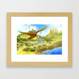 Flying On Polly Over an Enchanted Land Framed Art Print