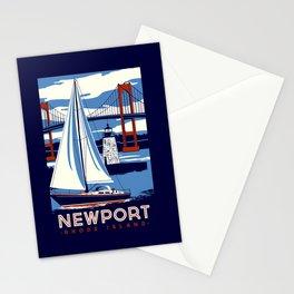 Newport Rhode Island Sailboat Lighthouse Retro Vintage nautical  Stationery Cards