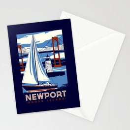 Newport Rhode Island Sailboat Lighthouse Retro Vintage nautical  Stationery Cards