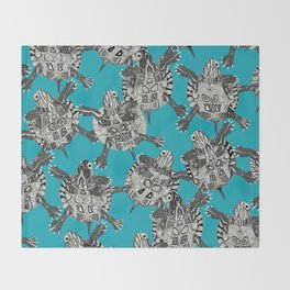turtle party surf blue Throw Blanket