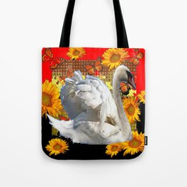 Abstracted Swan IN Red-Black Sunflowers Butterflies Tote Bag