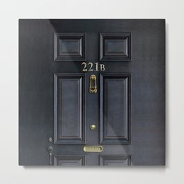 Haunted black door with 221b number Metal Print