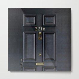 Haunted black door with 221b number Metal Print