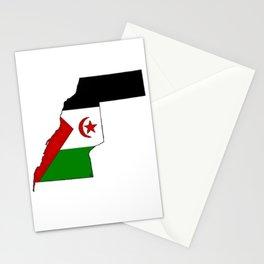 Western Sahara Map with Western Saharan Flag Stationery Cards