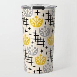 Mid Century Modern Space Flower Pattern Gray and Yellow Travel Mug