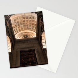 View from below of the main entrance of the Cathedral of Sant'Alessandro, the Cathedral of Bergamo A Stationery Cards