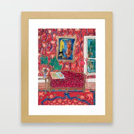 Red Interior with Lion and Tiger after Matisse Framed Art Print