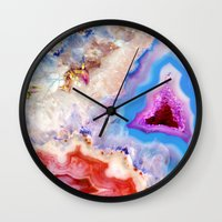 crystals Wall Clocks featuring Crystals by Eileen Holland