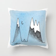Camping in the Mountains Throw Pillow