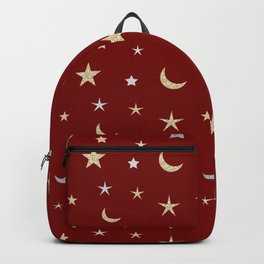 Gold and silver moon and star pattern on red background Backpack