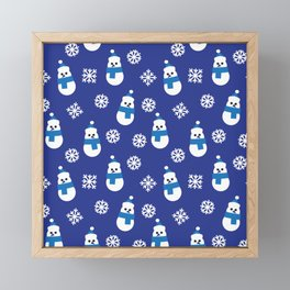 Happy Christmas Blue Snowman Holiday pattern Framed Mini Art Print