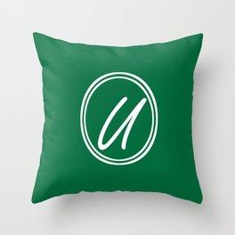 Monogram - Letter U on Cadmium Green Background Throw Pillow