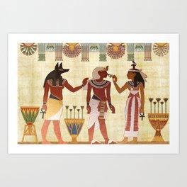 egyptian design man woman priest Art Print