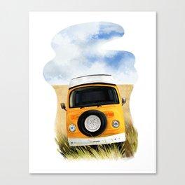 Yellow Hippie Van Canvas Print