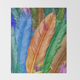 Feather of Colors Throw Blanket