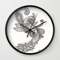 paisley Wall Clocks featuring Paisley by Bethany Pease