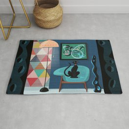 Creature Comforts Mid-Century Interior With Black Cat Rug