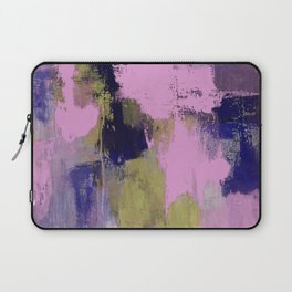 Wild Lilac - Abstract, textured, lilac, purple, blue and yellow oil painted artwork Laptop Sleeve