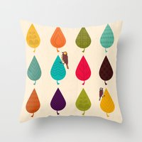 leaves Throw Pillows featuring Leaves by Kakel