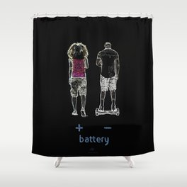 Battery (+/-) 1, on Black background. Shower Curtain