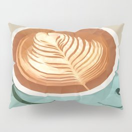 Coffee with Latte Art Polygon Art Pillow Sham