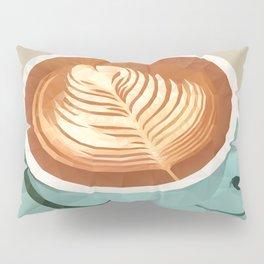 Coffee with Latte Art Polygon Art Pillow Sham