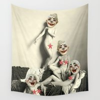 nudes Wall Tapestries featuring RECLINING NUDE CLOWNS (censored) by Julia Lillard Art