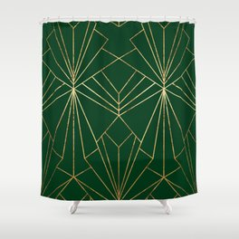 Art Deco in Emerald Green - Large Scale Shower Curtain