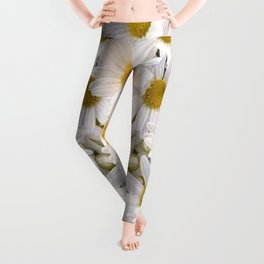 WHITE SHASTA DAISES GARDEN Leggings
