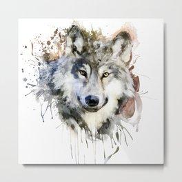 Wolf Watercolor Portrait Metal Print