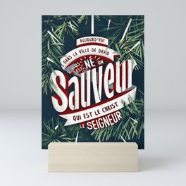 "Verset Bible Noël ""Jésus, Sauveur du monde"" Mini Art Print"