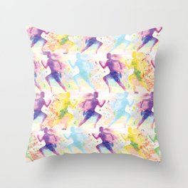 Watercolor women runner pattern Throw Pillow